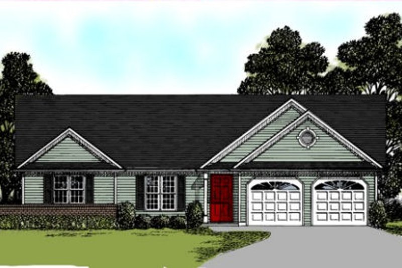 Traditional Style House Plan - 3 Beds 2 Baths 1500 Sq/Ft Plan #56-122 Exterior - Front Elevation