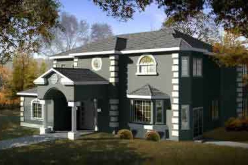 European Style House Plan - 4 Beds 3.5 Baths 2662 Sq/Ft Plan #1-1476 Exterior - Front Elevation
