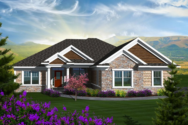 Ranch Exterior - Front Elevation Plan #70-1136
