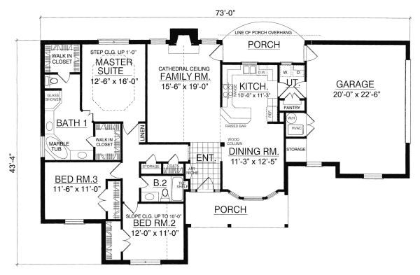 Country Floor Plan - Main Floor Plan Plan #40-376