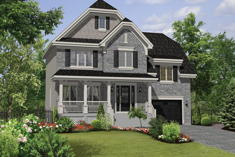 Country Style House Plan - 3 Beds 1 Baths 1700 Sq/Ft Plan #25-4570 Exterior - Front Elevation