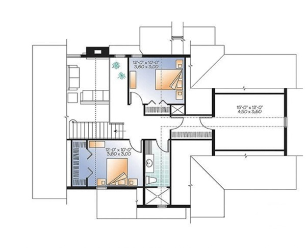 Country Floor Plan - Upper Floor Plan Plan #23-2562