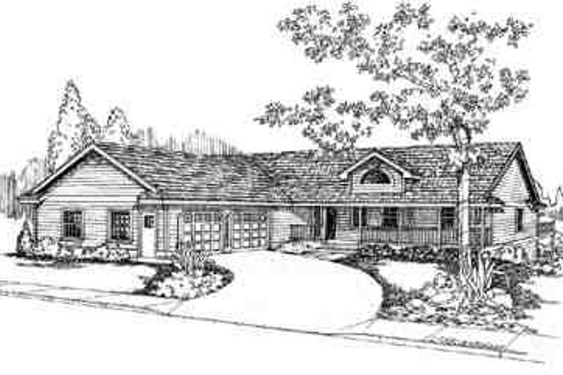 Ranch Exterior - Front Elevation Plan #60-599 - Houseplans.com
