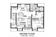 Country Style House Plan - 1 Beds 1 Baths 443 Sq/Ft Plan #116-126 Floor Plan - Upper Floor