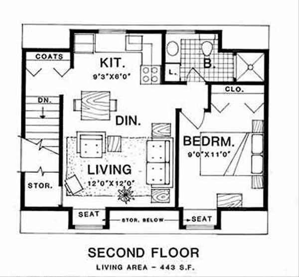 Country Style House Plan - 1 Beds 1 Baths 443 Sq/Ft Plan #116-126 Floor Plan - Upper Floor Plan