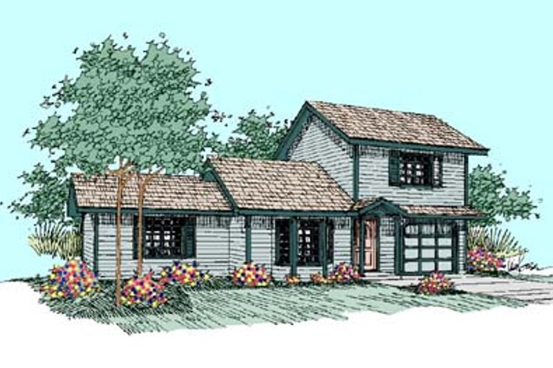 Traditional Exterior - Front Elevation Plan #60-499 - Houseplans.com