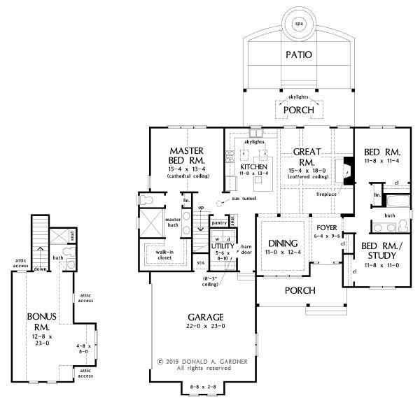 Ranch Floor Plan - Main Floor Plan Plan #929-1100