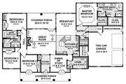 European Style House Plan - 4 Beds 3.5 Baths 2601 Sq/Ft Plan #21-186 Floor Plan - Main Floor