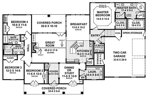 European Floor Plan - Main Floor Plan Plan #21-186