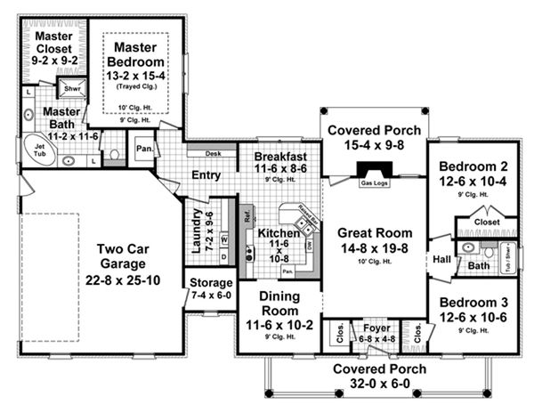 Southern Floor Plan - Main Floor Plan Plan #21-333