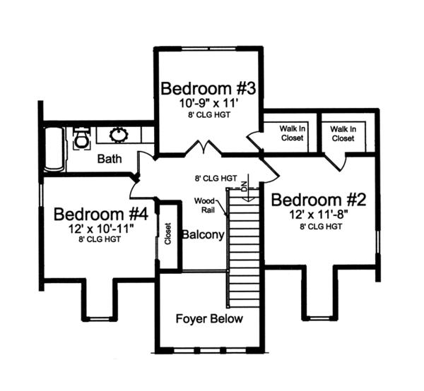 Traditional Floor Plan - Upper Floor Plan Plan #46-852