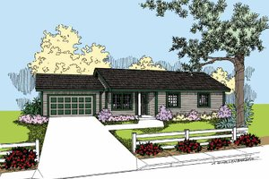 Ranch Exterior - Front Elevation Plan #60-1022