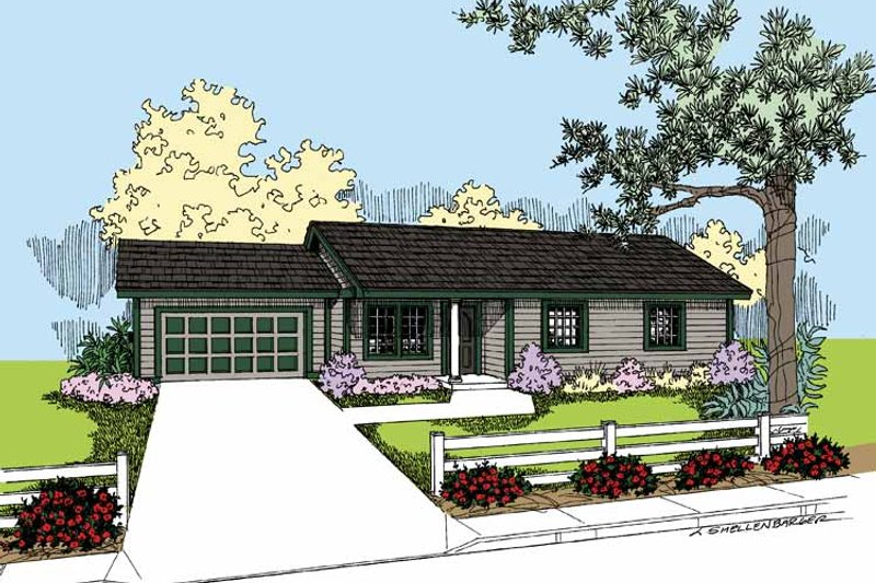 Architectural House Design - Ranch Exterior - Front Elevation Plan #60-1022