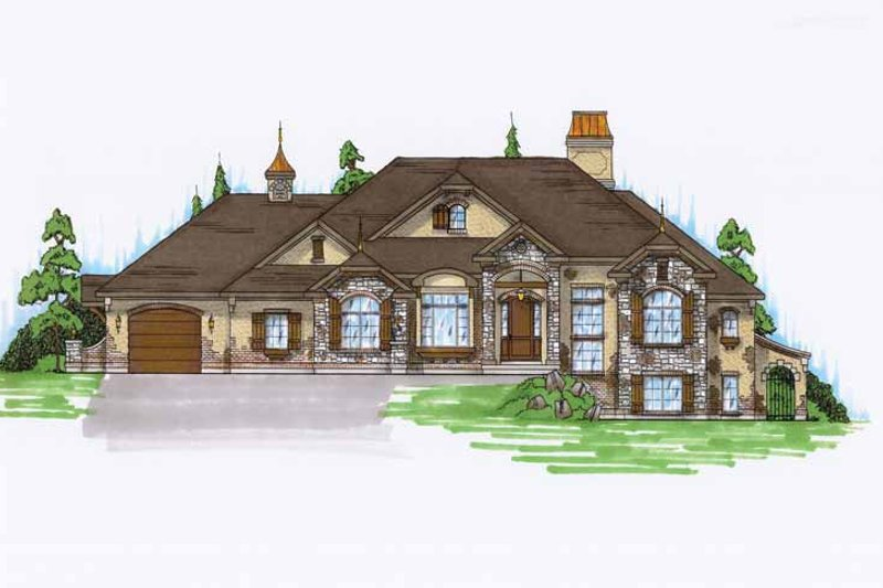 European Exterior - Front Elevation Plan #945-125