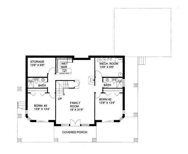 Ranch Floor Plan - Lower Floor Plan Plan #117-877