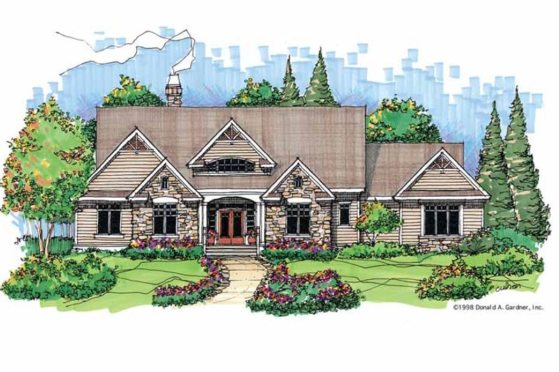 Country Exterior - Front Elevation Plan #929-416