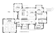 Log Style House Plan - 5 Beds 4.5 Baths 5140 Sq/Ft Plan #928-263 Floor Plan - Main Floor Plan