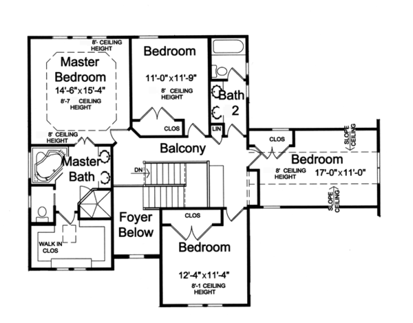 Craftsman Floor Plan - Upper Floor Plan Plan #46-835