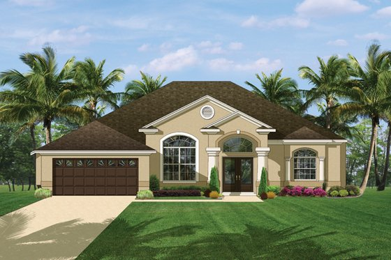 Mediterranean Exterior - Front Elevation Plan #1058-41