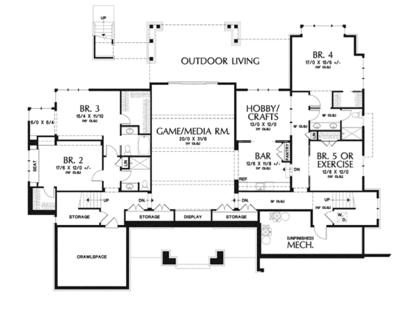 Craftsman Floor Plan - Lower Floor Plan Plan #48-904