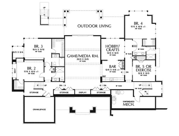 Craftsman Floor Plan - Lower Floor Plan #48-904