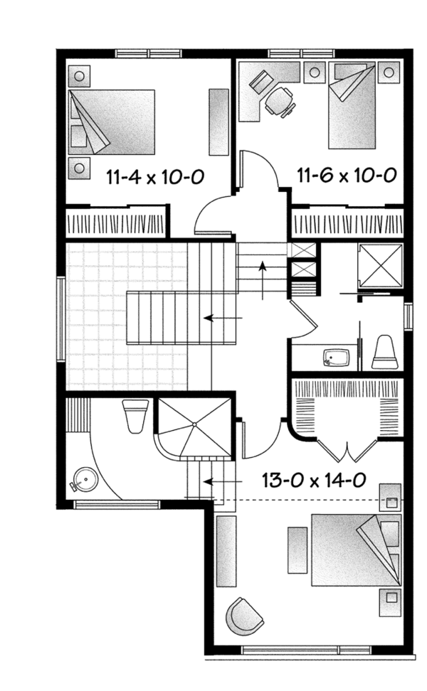Contemporary Floor Plan - Upper Floor Plan Plan #23-2580