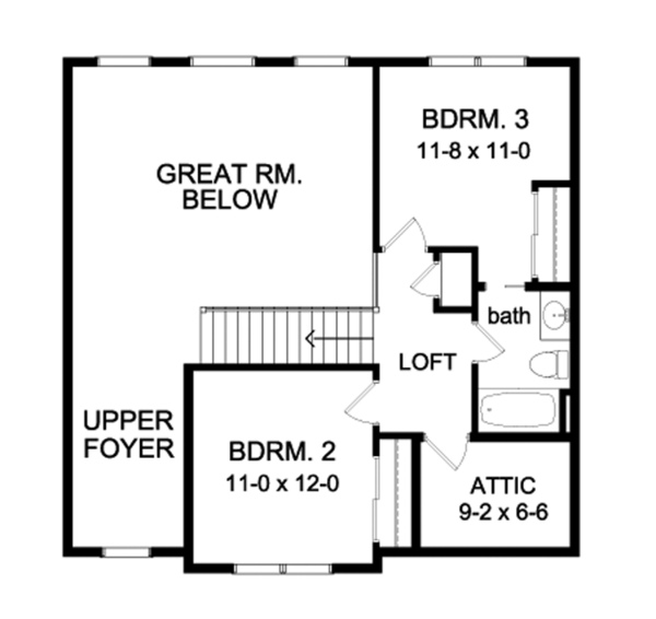 Traditional Floor Plan - Upper Floor Plan Plan #1010-75