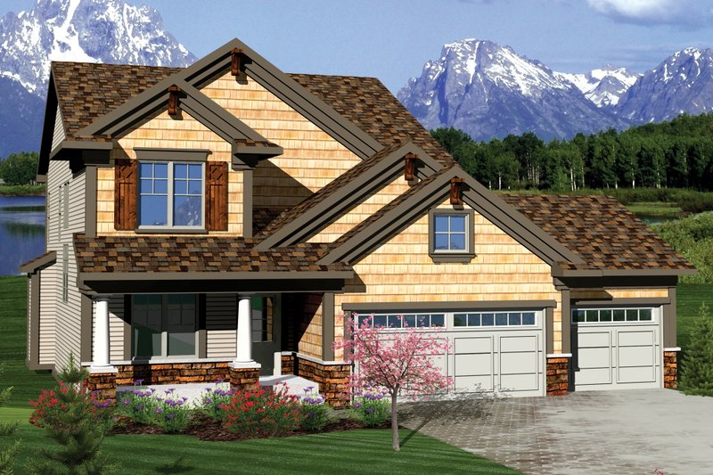 Craftsman Style House Plan - 3 Beds 2.5 Baths 1927 Sq/Ft Plan #70-1049 Exterior - Front Elevation