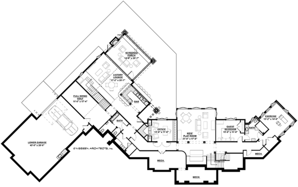 Craftsman Floor Plan - Lower Floor Plan Plan #928-292