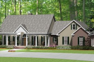 Southern Exterior - Front Elevation Plan #406-9618