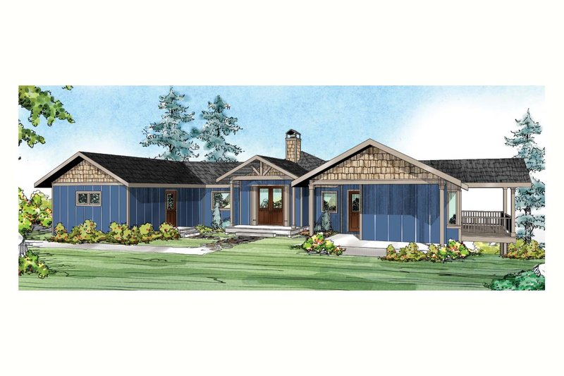 Ranch Exterior - Front Elevation Plan #124-910