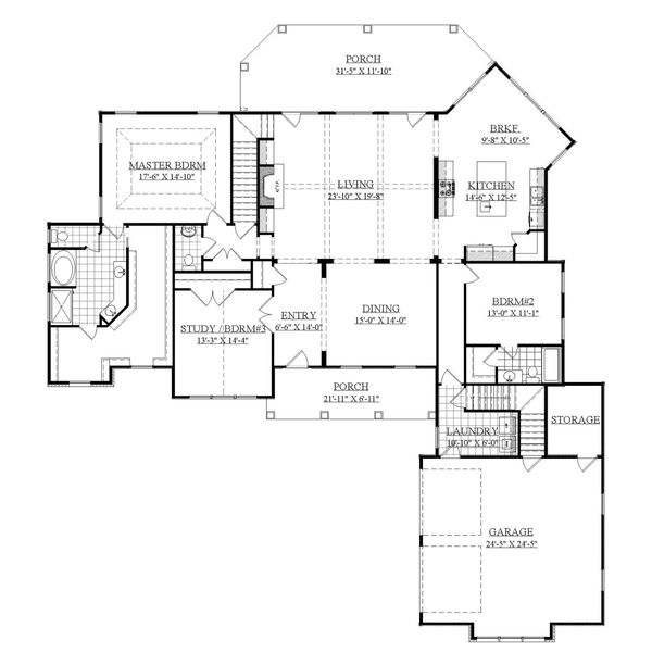 House Plan Design - Farmhouse Floor Plan - Main Floor Plan #1071-7