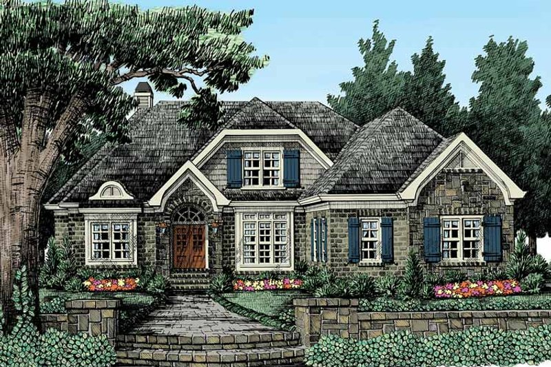 European Exterior - Front Elevation Plan #927-369 - Houseplans.com
