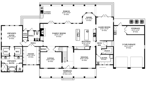 Colonial Floor Plan - Main Floor Plan Plan #1058-9