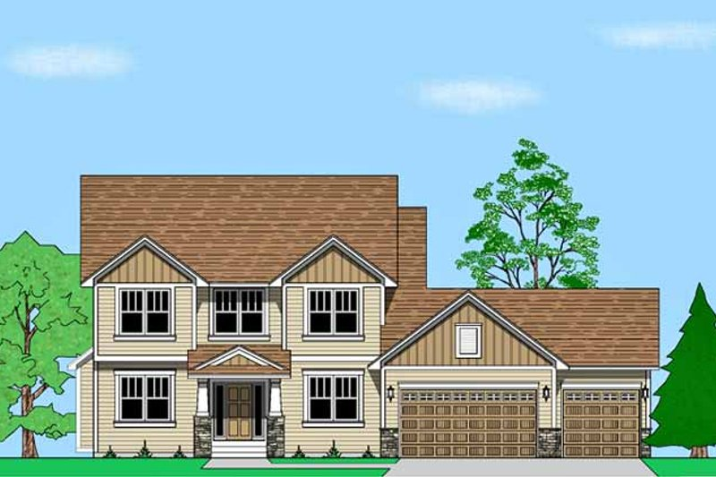 Architectural House Design - Prairie Exterior - Front Elevation Plan #981-16