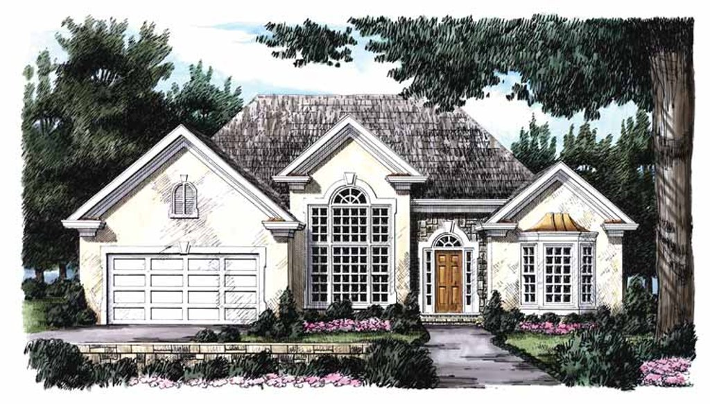 Colonial Exterior Front Elevation Plan 927 65