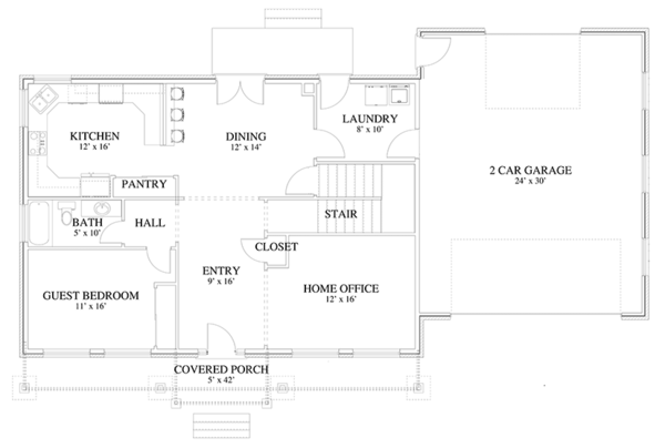 Traditional Floor Plan - Main Floor Plan Plan #1060-18