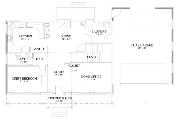 Traditional Floor Plan - Main Floor Plan Plan #1060-18