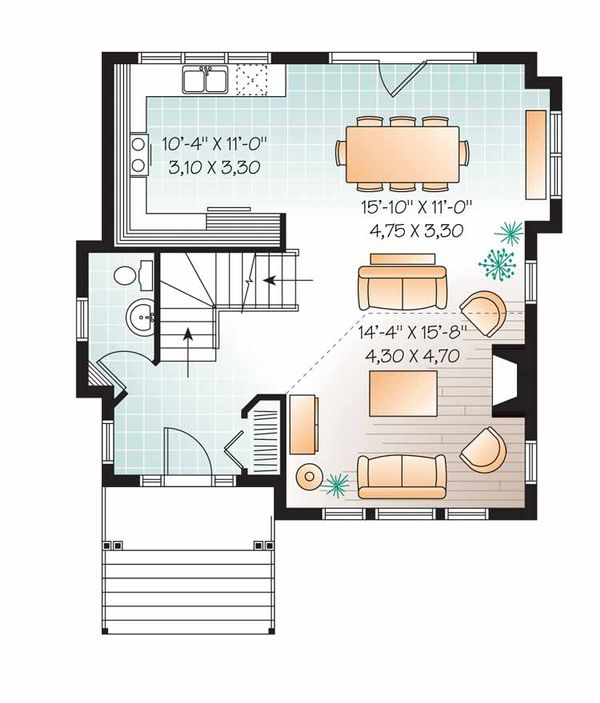 European Floor Plan - Main Floor Plan Plan #23-2490