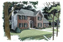 Home Plan - Colonial Exterior - Front Elevation Plan #56-671