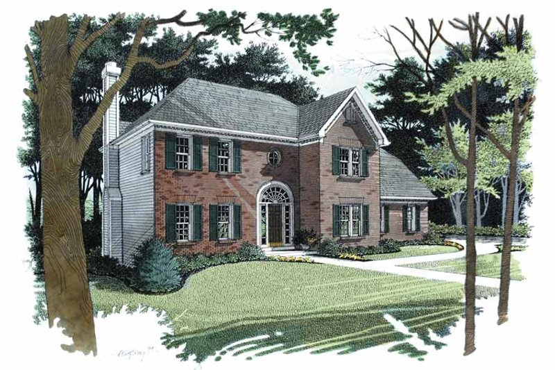 Colonial Exterior - Front Elevation Plan #56-671