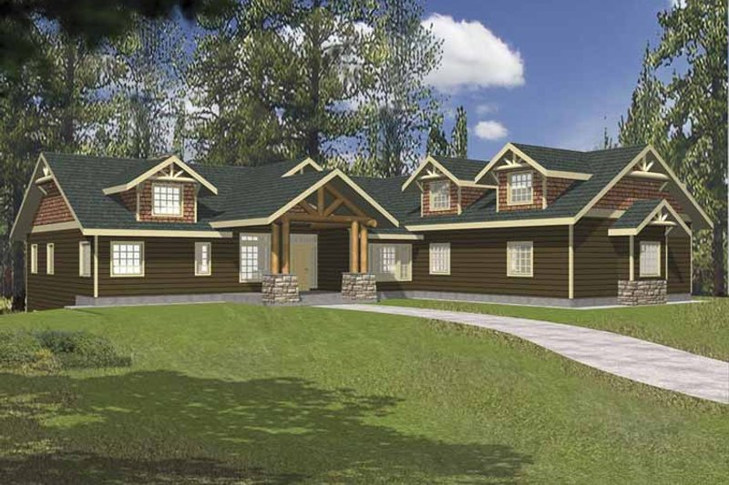Ranch Exterior - Front Elevation Plan #117-811 - Houseplans.com
