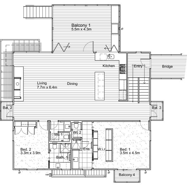 Modern Style House Plan - 4 Beds 3.5 Baths 3209 Sq/Ft Plan #496-14 Floor Plan - Main Floor Plan