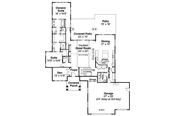 Contemporary Floor Plan - Main Floor Plan Plan #124-1045