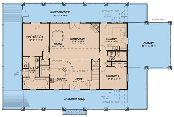 Architectural House Design - Country Floor Plan - Main Floor Plan #923-126