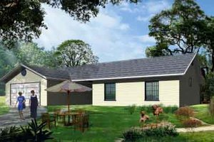 Ranch Exterior - Front Elevation Plan #1-1137
