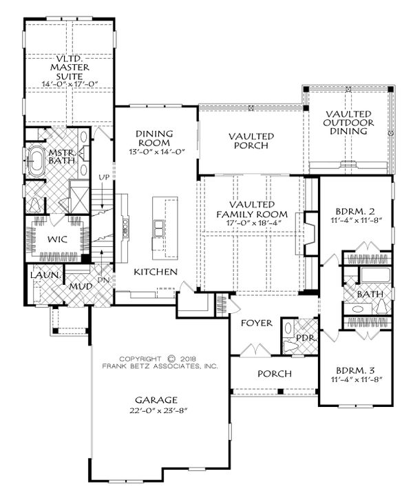 Country Style House Plan - 3 Beds 2.5 Baths 2073 Sq/Ft Plan #927-986 Floor Plan - Main Floor Plan
