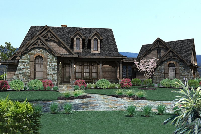 Craftsman Style House Plan - 3 Beds 2.5 Baths 1698 Sq/Ft Plan #120-168 Exterior - Front Elevation