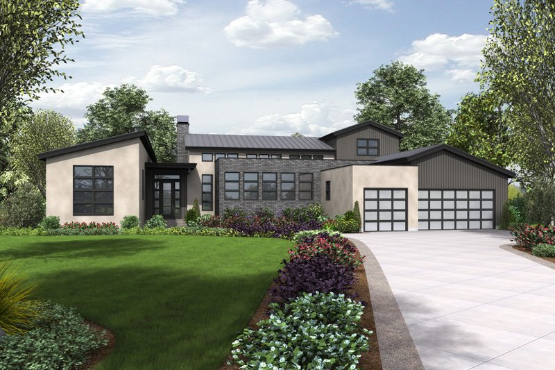 Modern Style House Plan - 3 Beds 2.5 Baths 3681 Sq/Ft Plan #48-694 Exterior - Front Elevation