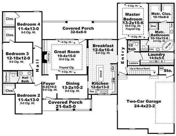 Southern Floor Plan - Main Floor Plan Plan #21-318